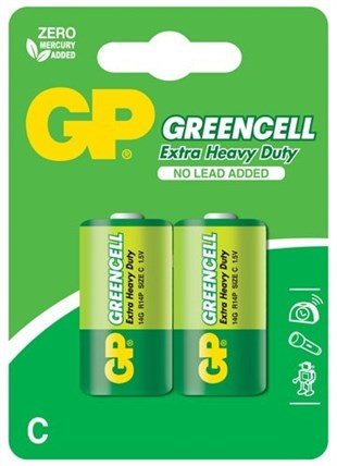 GP Greencel R14 Orta Boy Çinko Pil 2li Paket GP14G-U2